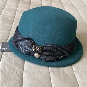 Grace Hats Green wool embellished fedora NWT